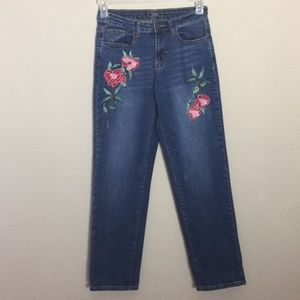 L & B Beautiful Embroidered Distressed Jeans